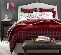 Cozy Christmas Bedroom Decor via Plaid Bedroom, Plaid Bedding, Autumn Bedding, Plaid Quilt, Romantic Bedroom Decor, Home Decor Bedroom, Bedroom Sets, Master Bedroom, Beige Bed Linen