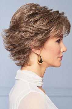 With its wispy texture and multitude of razor-tapered layers, this short silhouette has beautiful movement and lift. Gentle waves throughout flatter a variety of face shapes. Wear this versatile cut smooth and slick or fluff up the flipped ends. Sandy Blonde, Beige Blonde, Grey Curly Hair, Curly Hair Styles, Swedish Blonde, Gabor Wigs, Light Blonde Highlights, Medium Blonde, Short Hair With Layers