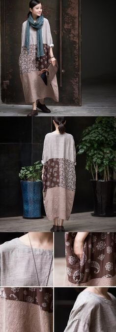 Casual loose cotton linen long dress with 3/4 Sleeve