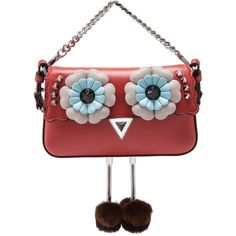 Fendi Hypnoteyes Micro Baguette (1835200 IQD) ❤ liked on Polyvore featuring bags, handbags, red, multi colored purses, multi coloured handbags, red purse, fendi purse and chain strap purse