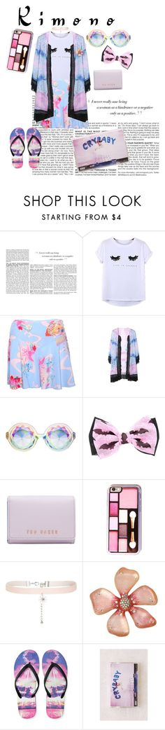 """Kimono Kiddie"" by trulyslytherin ❤ liked on Polyvore featuring BCBGMAXAZRIA, Chicnova Fashion, LUCY IN DISGUISE, Ted Baker, New Look, Betsey Johnson, Aéropostale, Urban Outfitters and kimonos"