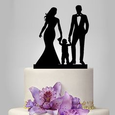 acrylic Wedding Cake Topper Silhouette funny by walldecal76  comes in red, white, black or mirrored on one side