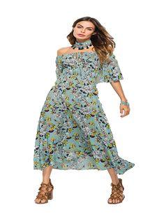 Women Casual Slash Neck Print Ruffles A Line High Waist Dress Dresses Ruffles, Cold Shoulder Dress, High Neck Dress, Casual, High Waist, Dresses, Women, Fashion, Turtleneck Dress