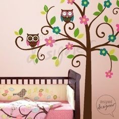 owl baby swing | NEW DESIGN - Swirly Tree with Owls (LARGE) - dd1034 Vinyl Wall Sticker ...