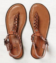 Tan AEO Braided Thong Sandal. I want to get some shoes kind of like this #tansandalsheels