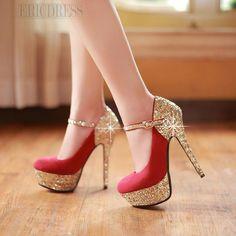 Chaussures à Talon, couleur Or et Rouge, idéale pour les fêtes