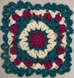 Ravelry: Passion Rose Motif pattern by Tammy Hildebrand Crochet Quilt Pattern, Crochet Squares Afghan, Crochet Motif Patterns, Crochet Blocks, Square Patterns, Crochet Art, Crochet Round, Knit Or Crochet, Quilt Patterns
