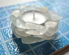 Candelero de cristal de mar playa cristal decoración