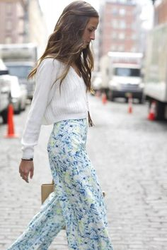 Something Navy styles these pajama-like pants with loose waves and a cropped sweater.
