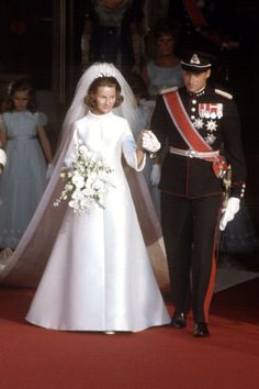 Whether you need inspiration or just love ogling at incredible gowns, click through to see some of the best royal wedding dresses in history. Royal Wedding Gowns, Royal Weddings, Christian Dior Gowns, Norwegian Royalty, Queens Wedding, Blue Chiffon Dresses, Royal Dresses, Princess Marie Of Denmark, Royal Brides