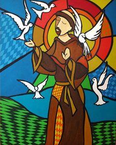 São Francisco e os Pássaros * Pop Art Catholic Crafts, Catholic Art, Catholic Saints, Religious Art, St Francis Assisi, Pop Art, Arte Popular, Christian Art, Creative Art