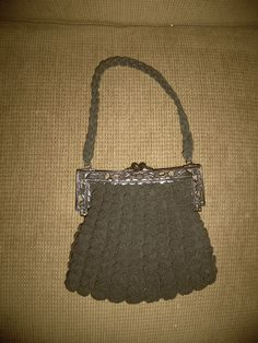 Vintage Black Crocheted Purse with Plastic Pheasant Handle