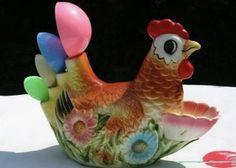 Chicken creamware ceramic Spoon Rest kitchen utensil rest cockerel rooster hen