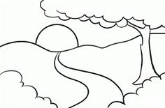 Nice Sunrise Landscape Coloring Pages is a very beautiful Sunrise scene. It is a highly adorable and attractive landscape. This coloring pages of landscape is Simple Line Drawings, Art Drawings For Kids, Outline Drawings, Drawing For Kids, Easy Drawings, Jungle Coloring Pages, Easy Coloring Pages, Coloring Books, Colouring Sheets