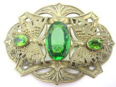 Edwardian Brooch Green Czech Glass Butterfly by VintageInBloom