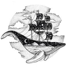 Whale Ship. Eclectic Collection of Drawings and Illustrations. To see more art and information about Thiago Bianchini click the image.