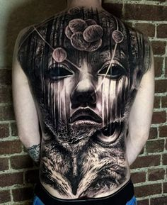 Amazing 3D back tattoo - 100 Awesome Back Tattoo Ideas <3 <3