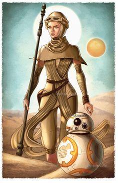 Star Wars - Rey and BB-8 by Chrissie Zullo