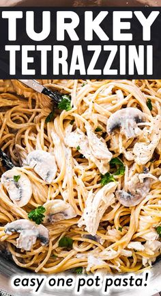 Relax your dinner prep with this easy 30 Minute Stovetop Turkey Tetrazzini recipe. It's quick to make (just one pot!) and is sure to become a new family favorite - plus it makes great use of Thanksgiving or Christmas leftovers. | #thanksgivingleftovers #leftoverturkey #turkeyrecipes #holidayleftovers #onepotpasta #pastarecipes #easydinner
