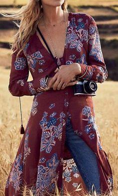 Deep V Boho Floral Print Maxi Dress
