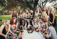 Gray, black, champagne, and pattern mismatched bridesmaid dresses // Eclectic Images // Last Petal a floral studio Printed Bridesmaid Dresses, Mismatched Bridesmaid Dresses, Floral Bridesmaids, Wedding Attire, Chic Wedding, Dream Wedding, Wedding Dreams, Woodsy Wedding, Wedding Stuff