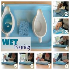 Montessori Practical Life: Wet Pouring This activity works well if the water isn't the same colour as the tray and the sponge isn't the same colour as the water.  I used a white tray and a paper towel.  It was easy to see water drops and what needed to be cleaned up.