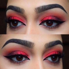 Amazing Red Eyeshadow Makeup Ideas For Your Inspiration In Holiday Sesaon; Makeup Looks; Holiday Makeup Looks; Natural Looks; Red Eyeshadow Makeup Looks; Red Eyeshadow Makeup, Eyeshadow For Brown Eyes, How To Apply Eyeshadow, Smokey Eye Makeup, Eyeliner, Applying Eyeshadow, Eyelashes Makeup, Eyeshadow Ideas, Summer Eyeshadow