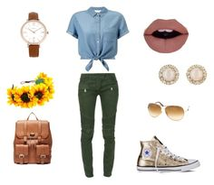 """""""Sunflowers"""" by fearlesscy on Polyvore featuring Miss Selfridge, Balmain, Converse, Sole Society, Tom Ford, FOSSIL and Kate Spade"""