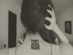 owl tattoo on back of neck