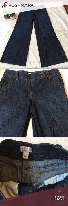 "Ann Taylor Loft wide leg jeans Darker wash vintage style wide leg jeans. 32.5"" inseam. Back flap pockets. In excellent condition!! LOFT Jeans Flare & Wide Leg"
