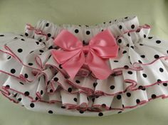 White and Black Dots with Pink Ruffles Sassy by SunKissedCuties, $19.99