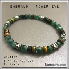 Bracelets Womens Mens.... Like a tiger, one who wears the tiger eye has the patience to wait for the most opportune moment and has great focus and determination......Beaded & Charm Yoga Mala I Meditation & Mantra I Spiritual. Tiger Eye Emerald.
