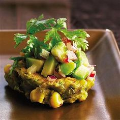 Sweetcorn and red chilli cakes with avocado salsa - the avocado salsa is a buffet staple now in my family - I'm always asked to make it, I always make double & there's never any left!