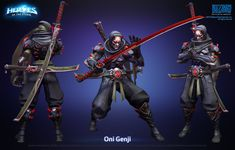 Blizzard's MOBA throws all the company's famous properties into the one game, which means the artists tasked with imagining Heroes of the Storm's look got to have some fun smashing everything together. Fantasy Samurai, Fantasy Armor, Armor Concept, Weapon Concept Art, Genji Oni Skin, Overwatch Oni Genji, Genji Cosplay, Cyber Ninja, Genji Shimada