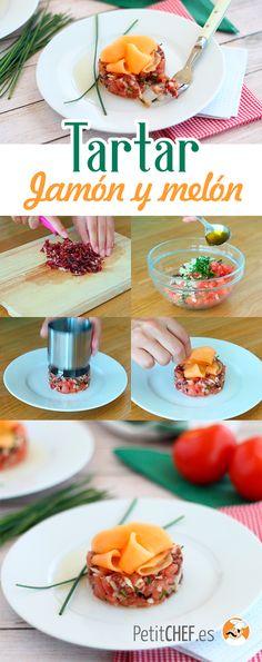 Tartar de jamón serrano, melón y tomate - Try Tutorial and Ideas Gourmet Food Plating, My Favorite Food, Favorite Recipes, Gourmet Recipes, Healthy Recipes, Canapes, Salad Recipes, Tapas, Sushi