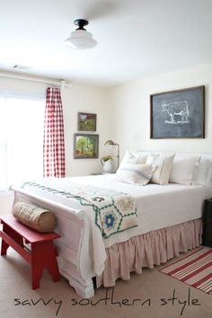 Southern Farmhouse Bedroom Ideas: Savvy Southern Style : A New Cow. Southern Style Bedrooms, Savvy Southern Style, Farmhouse Bedroom Decor, Home Bedroom, Bedroom Furniture, Bedroom Ideas, Bedroom Red, Bedroom Inspiration, Shabby Chic Vintage
