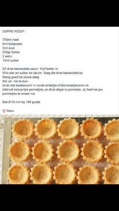 Pastry Recipes, Tart Recipes, Sweet Recipes, Baking Recipes, Cookie Recipes, Dessert Recipes, Sweet Pie, Sweet Tarts, Koeksisters Recipe