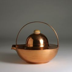 Art Deco Teapot Germany c. 1930 Copper plated metal wood C. handle 7 in. Stamped with maker's mark to underside Bauhaus, Art Nouveau, Copper And Grey, Teapots And Cups, Art Deco Furniture, Art Deco Design, Architecture Design, Stoneware, Decoration