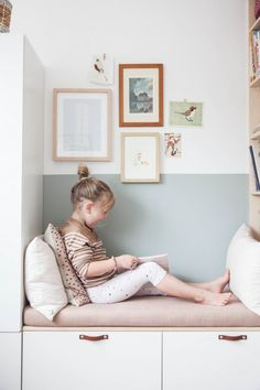 Besta Stuva Ikea Hack for Kids Room: Cosy Reading Nook in Pastel Colors Little Girl Bedrooms, Girls Bedroom, Cosy Corner, Kids Corner, Girl Room, Baby Room, Room Themes, Kid Spaces, New Room