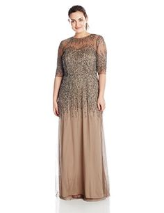 Adrianna Papell Women's Plus-Size Beaded Gown with Illusion Neck