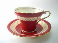 Antique Red Aynsley Tea cup and saucer set by AntiqueAndCrafts