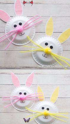Paper Plate Easter Bunny Craft  Ostern basteln Imágenes efectivas que le propo<br> Easy Easter Crafts, Spring Crafts For Kids, Bunny Crafts, Daycare Crafts, Easter Crafts For Kids, Preschool Crafts, Craft Kids, Children Crafts, Summer Crafts