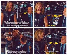 """I love Thor's description of Bilgesnipe and the hand actions """"Huge, scaly, big antlers""""- is he the god of adorable or something"""