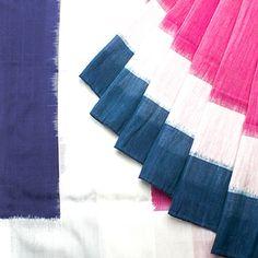 Pink w Indigo Border(silk) & linen( body) - Ikat Blouse -Block concept.