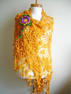 ON SALE Mustard Triangle Shawl By Crochetlab Fashion by crochetlab, $56.10