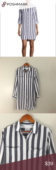 """Rails Julian shirt dress in Lisbon Stripe This buttery soft Rails """"Julian"""" shirtdress in a size small measures approximately 19"""" from armpit to armpit laid flat and buttoned, 36"""" in length measured from the top of the shoulder to the bottom front hem, and has an additional 2"""" in length at the back.  Features a grey and white stripe, button front, chest pockets, and rolled long sleeves. Rails Dresses"""
