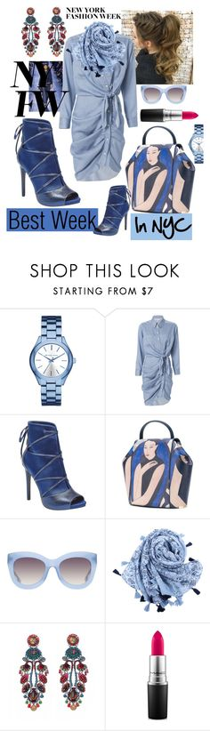 """""""What to Wear at NYFW"""" by mdfletch ❤ liked on Polyvore featuring Michael Kors, Veronica Beard, GUESS, Onesixone, Alice + Olivia, Ayala Bar, MAC Cosmetics and NYFW"""