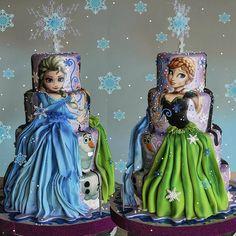 Frozen Fever Bolo Frozen, Torte Frozen, Frozen Theme Cake, Frozen Birthday Cake, Girly Cakes, Fancy Cakes, Cute Cakes, Frozen Disney, Anna Cake