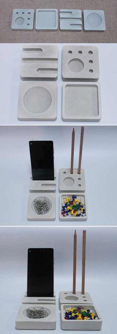 Pen Pencil Stand Holder Concrete Smart Phone Dock Storage Desktop Accessories Set