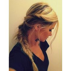 fishtail braid with a twist Hair and Beauty Tutorials ❤ liked on Polyvore